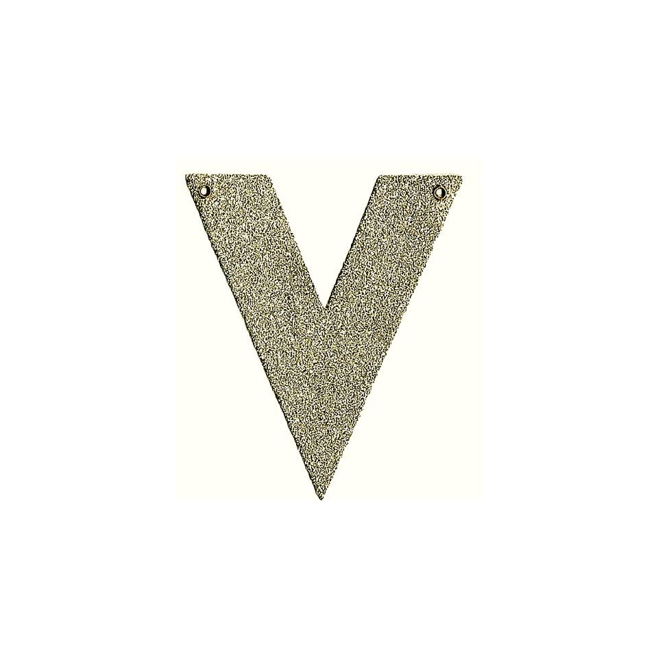 Silver Glass Glitter Letter V by Wendy Addison