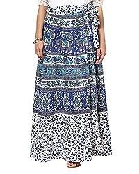 Soundarya Women's Cotton Long Wrap Skirt(RS6006, 38, White)