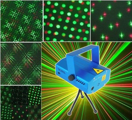 Forestore Mini Mixed Red&Green Stage Lighting Projector Spotlight Sound/ Music Active Dj Equipment For Disco Lights Club Party-Blue