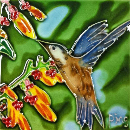 Continental Art Center SD-085 4 by 4-Inch Hummingbird with Yellow Flower Ceramic Art Tile