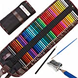 Moore: Premium Art Color Pencils Set of 48 pcs Pre-Sharpened Vibrant Colors For Adults and Kids, with Free Kum Alloy Metal Sharpener (made in Germany) in a Canvas Roll up Case