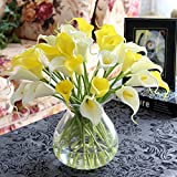 Kaimao 10 Pcs Artificial Calla Lily Flower Real Touch Bridal Wedding Flowers Bouquet for Home Room or Birthday Garden Decoration - White