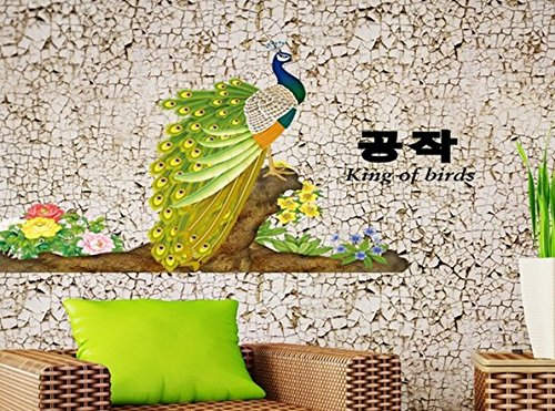 Removable Living Room Television Background Environmental Pvc Wall Stickers Peacock front-651572