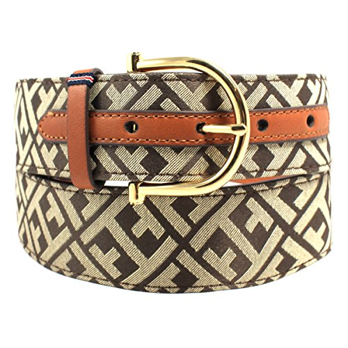 Tommy Hilfiger Women's Signature Logo Jacquard Belt, Chocolate Brown (X-Large) (Belt Tommy Hilfiger Women compare prices)