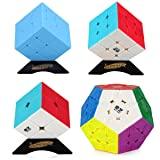 Dreampark Speed Cube Bundle [4 Pack] Megaminx Mirror 2x2 3x3 Stickerless Cube Puzzle Collection for Kids (Colorful)