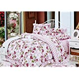 Home Basics Criss Cross Lightweight Polycotton Set Of 1 Floral Print Double Bedsheet With 2 Pillow Covers- King...