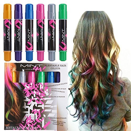 Hair Chalk - Metallic Glitter Temporary Hair Color - Edge Chalkers - No Mess