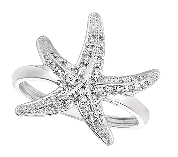 0.34 carat round brilliant diamond starfish wedding ring gold white