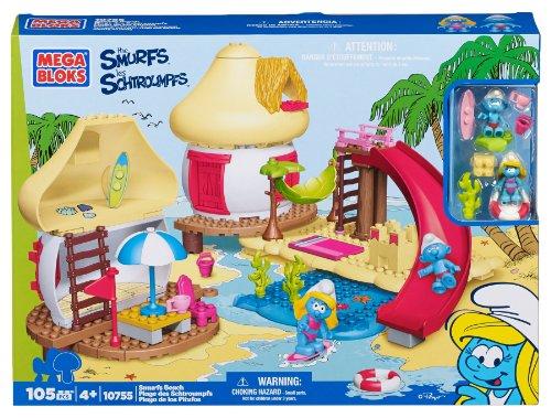 Mega Bloks 10755U - Play Set Puffi in Spiaggia, 99 Pezzi