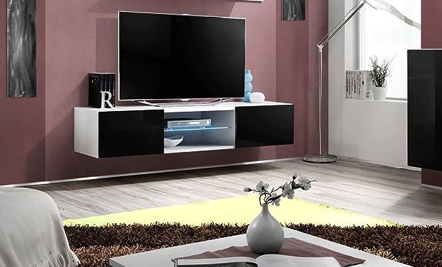 Mobile porta tv Flora II cm L160xH30xP40 corpo bianco frontale nero lucido