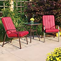 Bistro Set. This Red 3 Piece Outdoor Bistro Set Brings a Bistro Style Experience Outside of Your Door. Guaranteed to Enhance Those Summer Days and Nights, This Bistro Table Set Will Be Enjoyed By Your Family and Friends. Bistro Sets Add to Memories. from