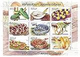 Souvenir hoja de sellos de serpientes de Madagasgar / 1999