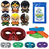 "36 Pc Superheroes Party Favor Pack (12 Metallic Half Masks, 12 Super Hero Bracelets, 1 SSSS, & 12 Super Heroes Buildable Figurines ""Superman, Batman, Aquaman, Wonder Woman, Cyborg, & Green Lantern"")"