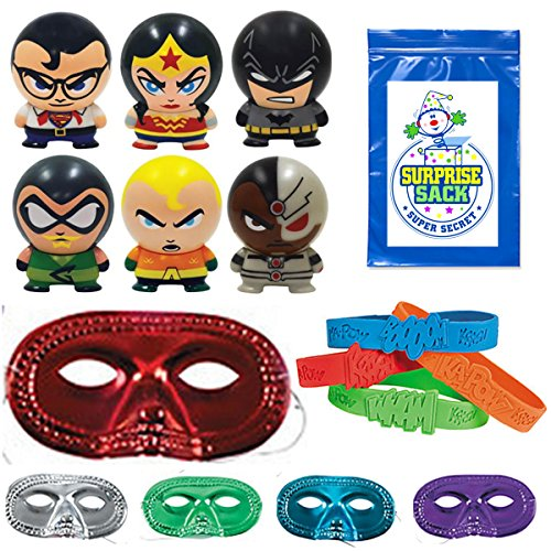 36-Pc-Superheroes-Party-Favor-Pack-12-Metallic-Half-Masks-12-Super-Hero-Bracelets-1-SSSS-12-Super-Heroes-Buildable-Figurines-Superman-Batman-Aquaman-Wonder-Woman-Cyborg-Green-Lantern