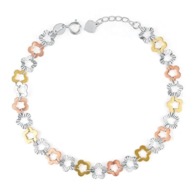 Amazon.com: 14K Tri-Color Gold Connected Flower Chain Bracelet ...