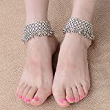 Womens Small Bells Antique Silver Anklet Chain Foot Barefoot