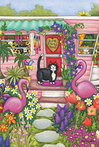 Toland Home Garden Kittens And Flamingoes 12 5 X 18 Inch