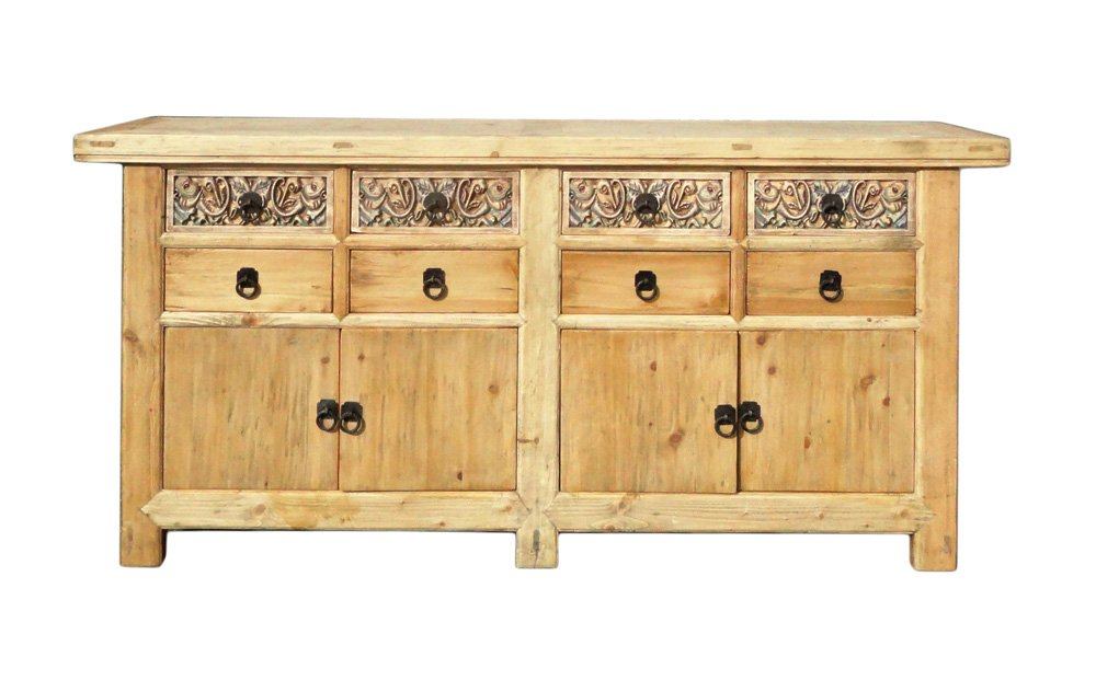 Chinese vintage natural finish carving sideboard buffet