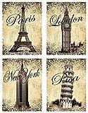 Trendy Monument Postcard Travel Prints; Paris, New York, London, Pisa; Four 11x14 Prints