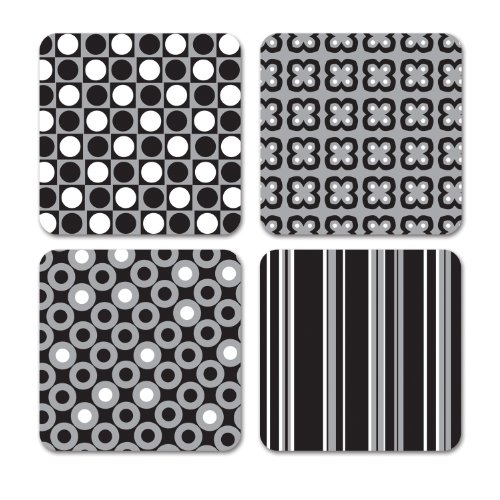 Studio Oh! Coasters, 12 Count, Silver/Black