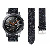 Watch Bands Samsung Galaxy Watch 46mm,Adjustable Bling Shiny Luxury Leather Bracelet Wirstband Replacement Strap Watch Band Bracelet Strap for Samsung Galaxy Watch 46mm Womens Girls (Black) (Color: Black, Tamaño: 22mm Band Length:about 210mm)