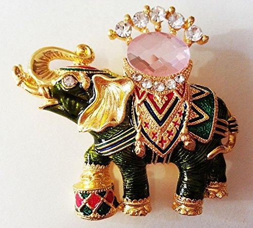 ELEPHANT THAI UNIQUE BROOCH CRYSTAL PIN ENAMEL RHINESTONE SHIRT DRESS SOUVENIR