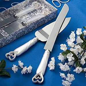 Interlocking hearts design cake knife/server set- 1