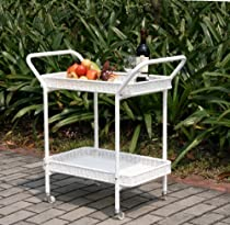 Big Sale Wicker Lane Outdoor White Wicker Patio Furniture Serving Cart