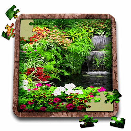 Susan Brown Designs Nature Themes - Flowers and Waterfall - 10x10 Inch Puzzle (pzl_41283_2)