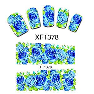 False Nail Art Accessory Tips Nail Decals Water Transfer Wraps Stickers Decor DIY Gift (Blue Rose)