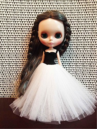 Design patterns for doll dress with tulle skirt with color (long white)