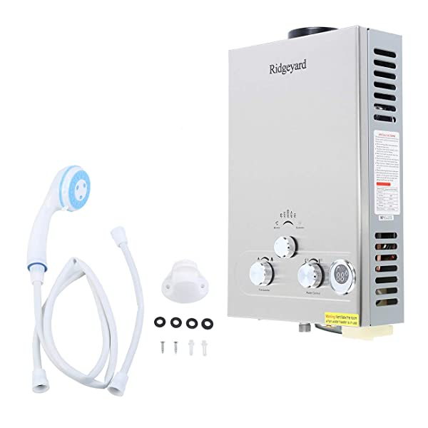 Ridgeyard Propane LPG Gas 8L Tankless Water Heater Hot Water Boiler with Shower Head Kit (8L) (Color: Silver, Tamaño: 8L)