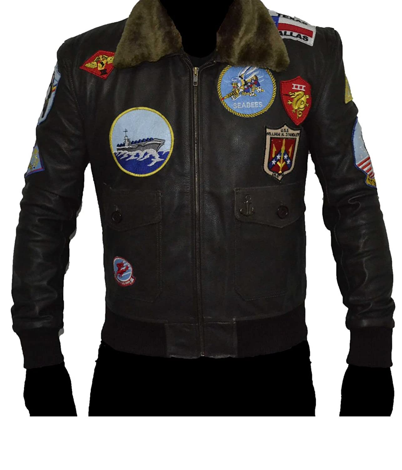 Top Gun BROWN REAL Cowhide Leather Jacket SAT 3