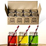 Hayley Cherie® - Mason Jar Shot Glasses with Lids (Set of 8) - Mini Mason Shooter Glass - 2 Ounces