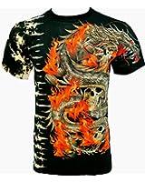 Rock Chang T-Shirt Burning Dragon Tied-Dyed Batik Noir T-WRM 19