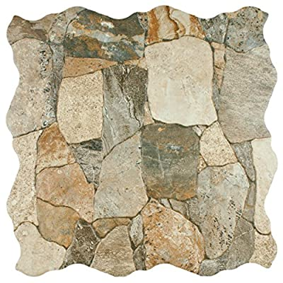 "SomerTile FAZ18ATG Roccia Ceramic Floor and Wall Tile, 17.75"" x 17.75"", Brown/Gray/Green"