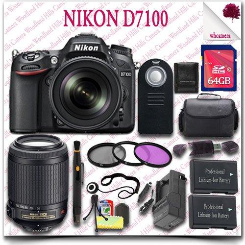 Nikon D7100 Digital Slr Camera With 18-105Mm Af-S Dx Vr Ed Lens (Black) + Nikon 55-200Mm Af-S Dx Vr Lens + 64Gb Sdhc Class 10 Card + 3Pc Filter Kit + Slr Gadget Bag + Wireless Remote 19Pc Nikon Saver Bundle