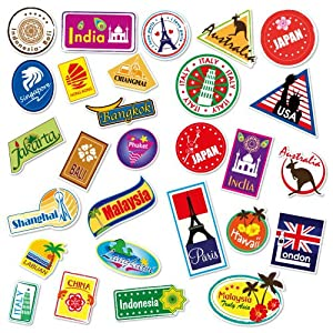 World Travel Locations Suitcase Stickers - Set of 28 Luggage Decal