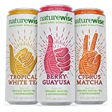 NatureWise Whole Body Vitality Drinks Reduce Stress, Enhance Focus, and Suppress Cravings. Sparkling Organic Tea and Ashwagandha, 0 Sugar, 0 Calories, 3 Count