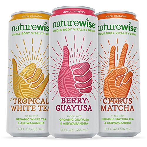 NatureWise Whole Body Vitality Drinks Reduce Stress, Enhance Focus, and Suppress Cravings. Sparkling Organic Tea and Ashwagandha, 0 Sugar, 0 Calories, 3 Count (Guayaki Energy Drinks compare prices)