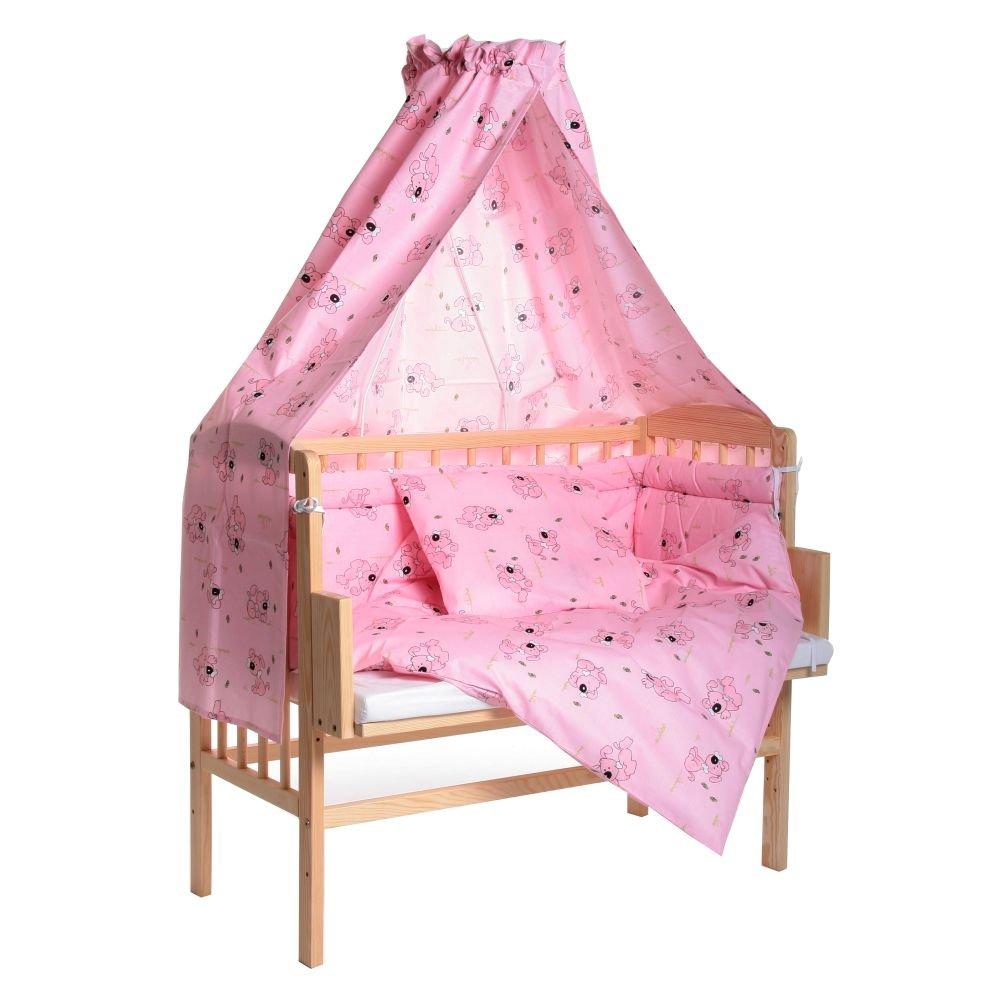 Beistellbett Maria 90x40cm mit Bettset Hund und Matratze – rosa jetzt bestellen