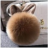 (サクララ)Sakulala キツネの毛皮 レディース ペンダント ふわふわ ファー ヘアー 耳付き 可愛い ボンボンチャーム キーホルダー バッグチャーム