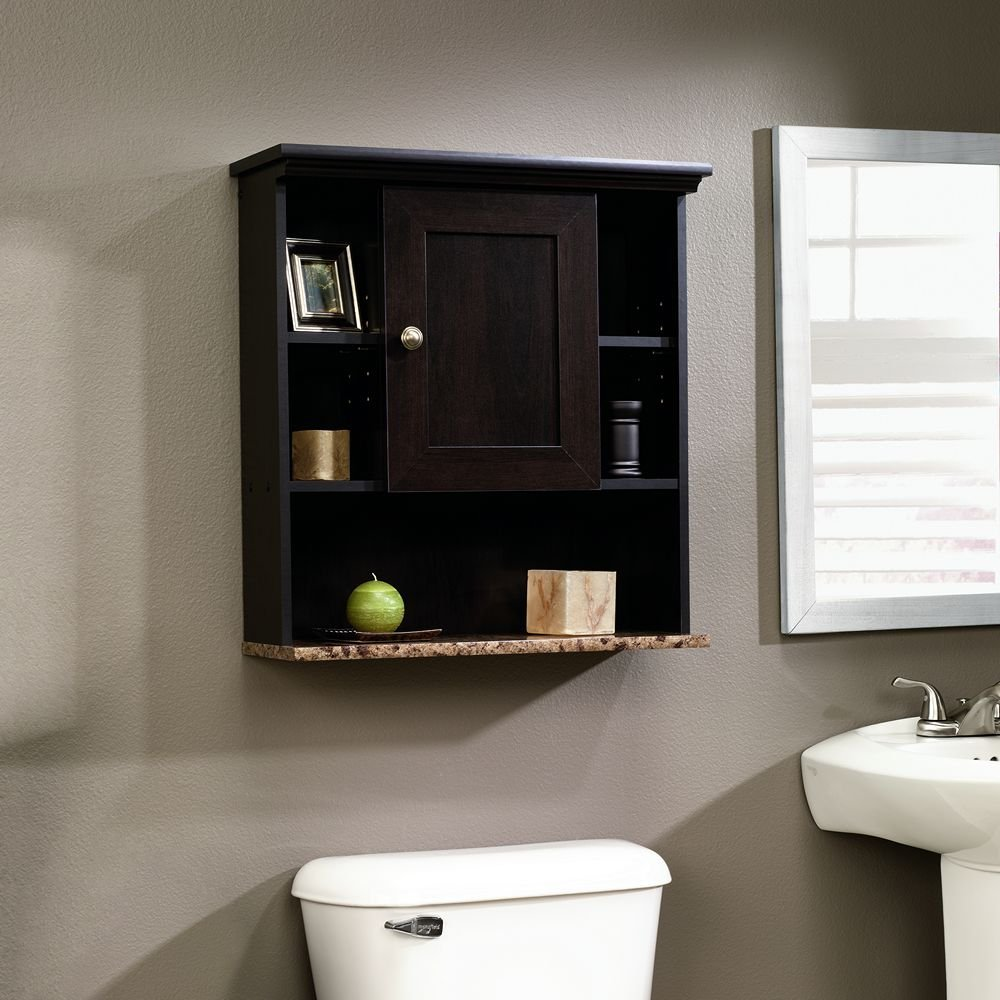 Bathroom wall cabinet cherry wall mount shelf storage for Toilet furniture cabinet