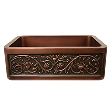 Whitehaus WH3020COFCSF-SCO Haus 30-Inch Rectangular Undermount Sink with a Sun Flower Design Front Apron, Smooth Copper