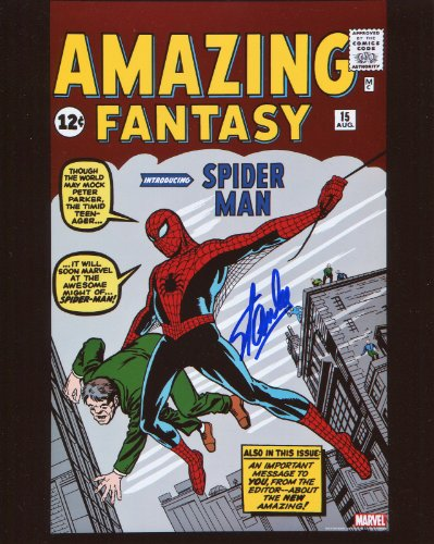 Stan Lee Amazing Fantasy 15 First Spiderman Signed / Autographed 8x10 Glossy Photo. Includes Fanexpo Certificate of Authenticity and Proof of signing. Entertainment Autograph Original.