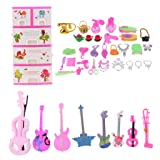 MonkeyJack 39pcs Box of Dolls Bag Comb Neacklace Jewelry Perfume Phone Rings Musical Instrument For Barbie Dolls House Accs (Tamaño: as described)