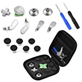 Zerone Controller Replacement Kit for PS4, 15 in 1 Thumb Stick Cap Magnetic Button Paddles Screwdrivers Replacement Parts Kit for PS4/Xbox One (Color: default)