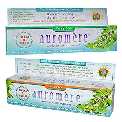 Auromere Fresh Mint Ayurvedic Herbal Toothpaste and Licorice Ayurvedic Herbal Toothpaste Bundle With Special Herbal Extracts For Optimum Oral Hygiene and Optimum Care of Teeth and Gums, 4.16 oz. each