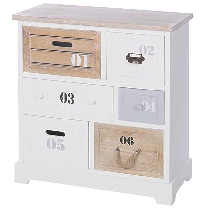 Schränkchen 60x30x64,5cm weiß mit sechs Schubladen Kommode Badschrank Schrank