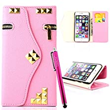 buy Iphone 5S Case, Jcmax Flip High Quality Synthetic Leather [Zipper Style] Wallet Stand Case With [Card Slots][Magnetic][ Wrist Strap] For Apple Iphone 5 5S 5G